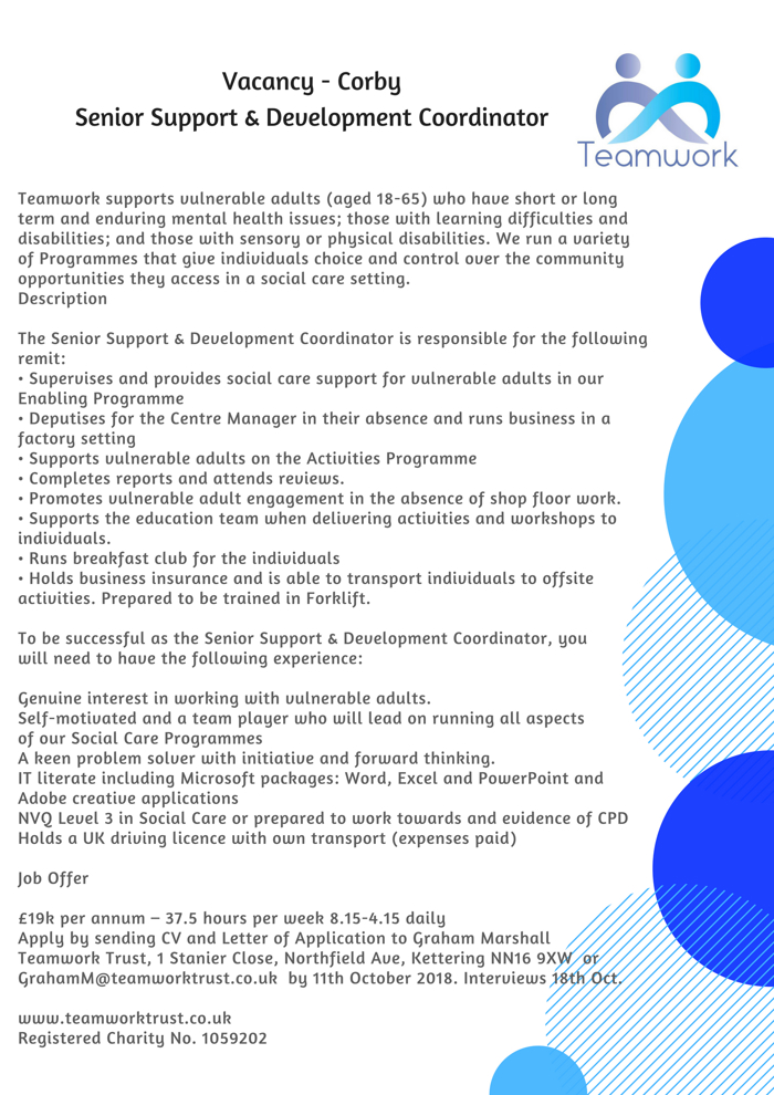 Teamwork Trust Vacancy Senior Support Corby